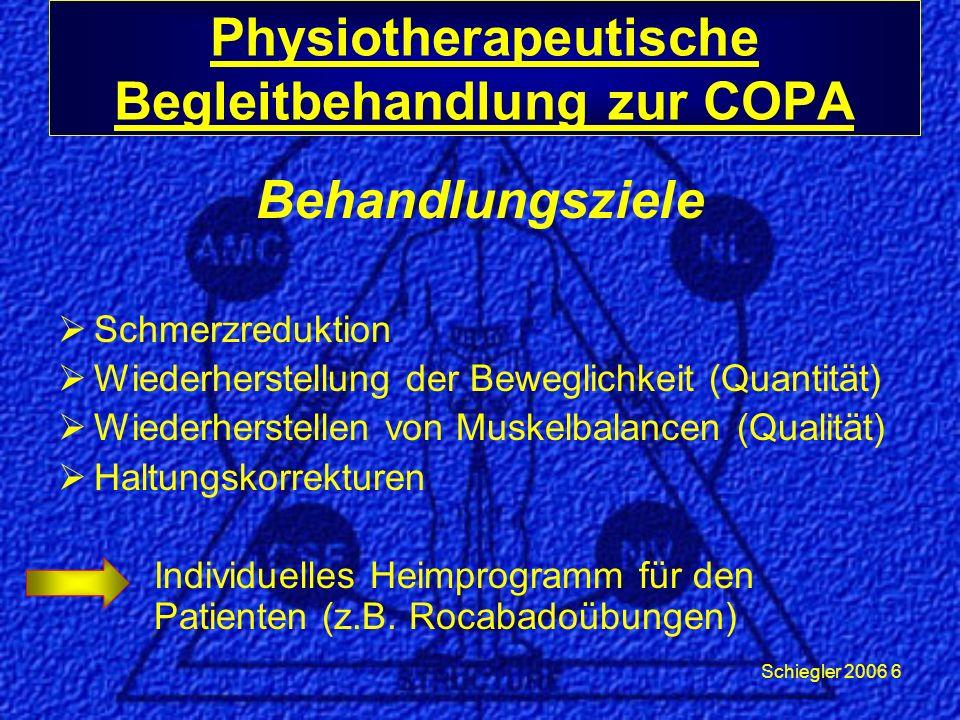 Schiegler 2006 6 Behandlungsziele Schmerzreduktion Wiederherstellung der Beweglichkeit (Quantität) Wiederherstellen von Muskelbalancen (Qualität) Haltungskorrekturen Individuelles Heimprogramm für den Patienten (z.B.