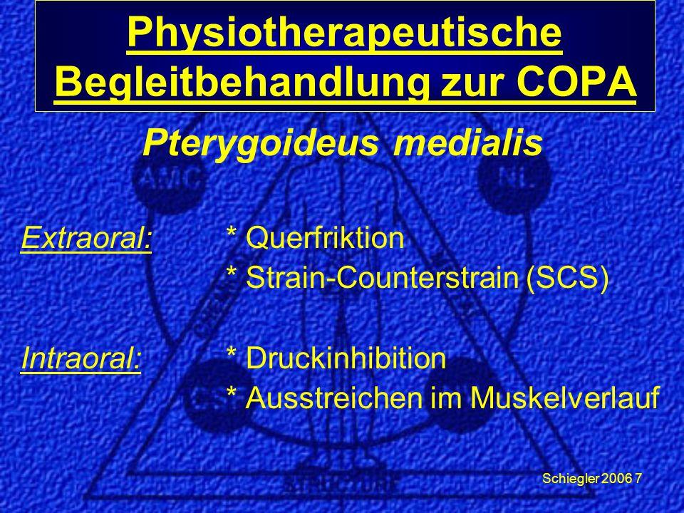 Schiegler 2006 7 Pterygoideus medialis Extraoral: * Querfriktion * Strain-Counterstrain (SCS) Intraoral:* Druckinhibition * Ausstreichen im Muskelverlauf Physiotherapeutische Begleitbehandlung zur COPA
