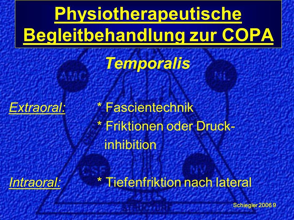 Schiegler 2006 9 Temporalis Extraoral: * Fascientechnik * Friktionen oder Druck- inhibition Intraoral:* Tiefenfriktion nach lateral Physiotherapeutische Begleitbehandlung zur COPA