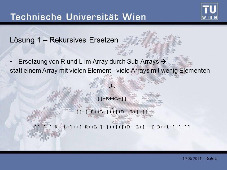 Ersetzungsfunktion /replaceDict << /R { [ /+ /R /- /- /L /+ ] } /L { [ /- /R /+ /+ /L /- ] } /+ { /+ } /- { /- } >> def /replFunc { << /arraytype { replFunc } /nametype { cvx exec } >> begin [ exch { dup type exec } forall ] end } def   19.05.2014   Seite 6