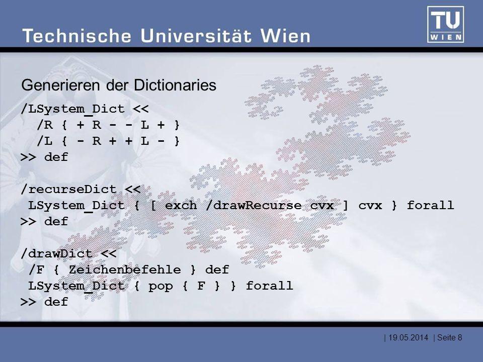 Generieren der Dictionaries /LSystem_Dict << /R { + R - - L + } /L { - R + + L - } >> def /recurseDict << LSystem_Dict { [ exch /drawRecurse cvx ] cvx