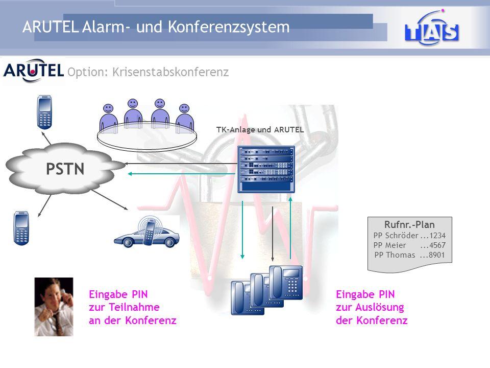 ARUTEL Alarm- und Konferenzsystem PSTN TK-Anlage und ARUTEL Rufnr.-Plan PP Schröder...1234 PP Meier...4567 PP Thomas...8901 Eingabe PIN zur Teilnahme