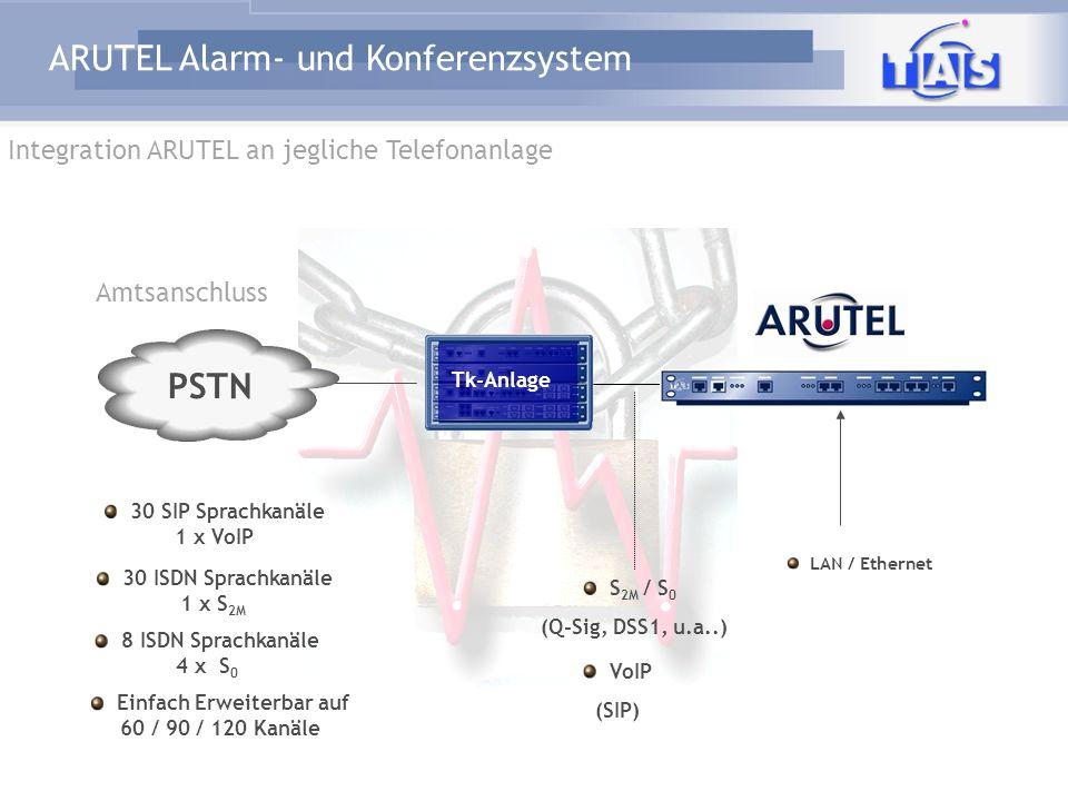 ARUTEL Alarm- und Konferenzsystem PSTN alternativ zwischen Amt und TK LAN / Ethernet S 2M / S 0 EDSS1 Einfach Erweiterbar auf 60 / 90 / 120 Kanäle 8 ISDN Sprachkanäle 4 x S 0 30 ISDN Sprachkanäle 1 x S 2M Amtsanschluss Tk-Anlage