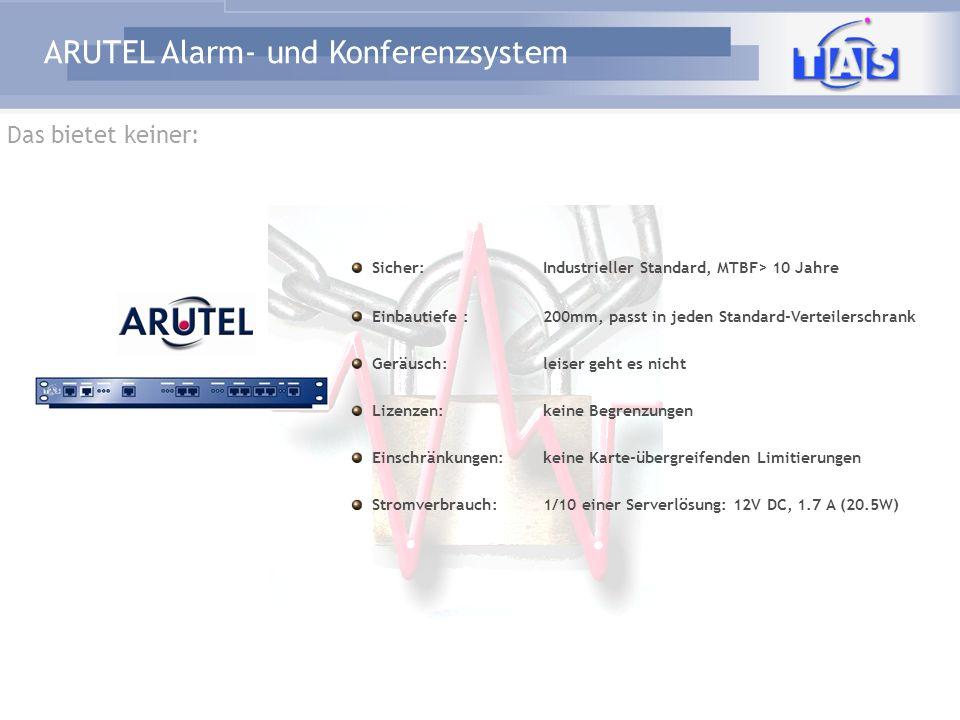 ARUTEL Alarm- und Konferenzsystem Sicher:Industrieller Standard, MTBF> 10 Jahre Einbautiefe :200mm, passt in jeden Standard-Verteilerschrank Geräusch: