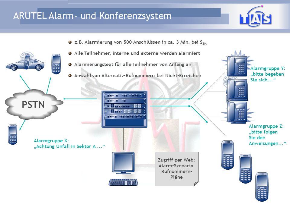 ARUTEL Alarm- und Konferenzsystem Alarmgruppe X: Achtung Unfall in Sektor A... Zugriff per Web: Alarm-Szenario Rufnummern- Pläne PSTN z.B. Alarmierung