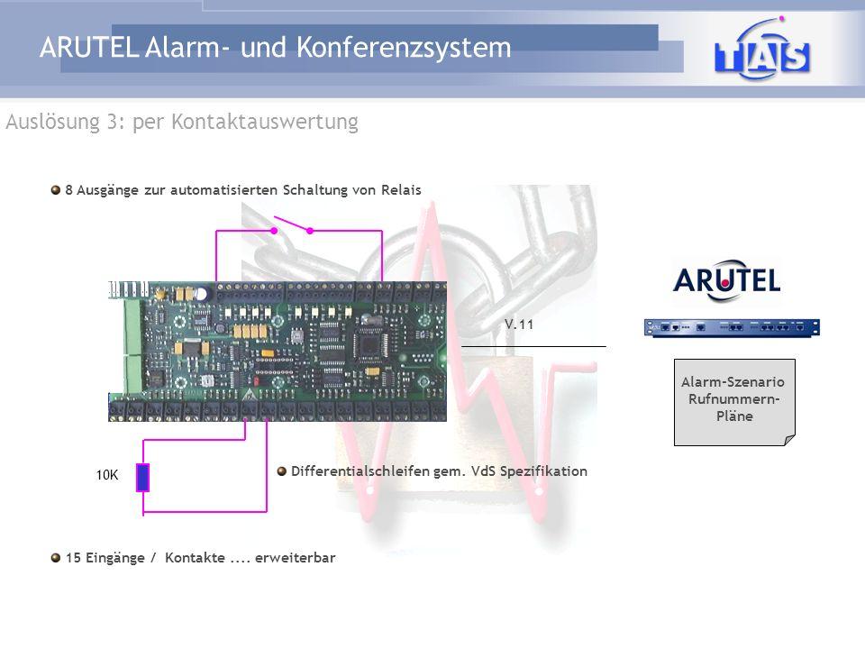 ARUTEL Alarm- und Konferenzsystem Auslösung 3: per Kontaktauswertung 15 Eingänge / Kontakte.... erweiterbar Differentialschleifen gem. VdS Spezifikati