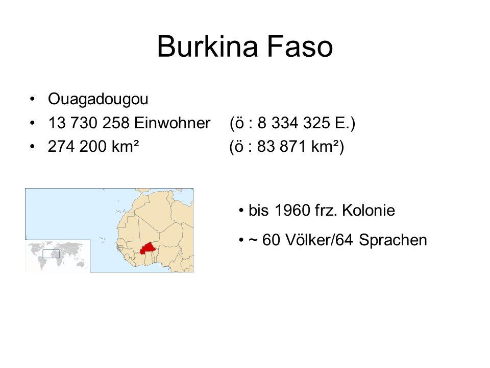 Burkina Faso Ouagadougou 13 730 258 Einwohner (ö : 8 334 325 E.) 274 200 km² (ö : 83 871 km²) bis 1960 frz. Kolonie ~ 60 Völker/64 Sprachen