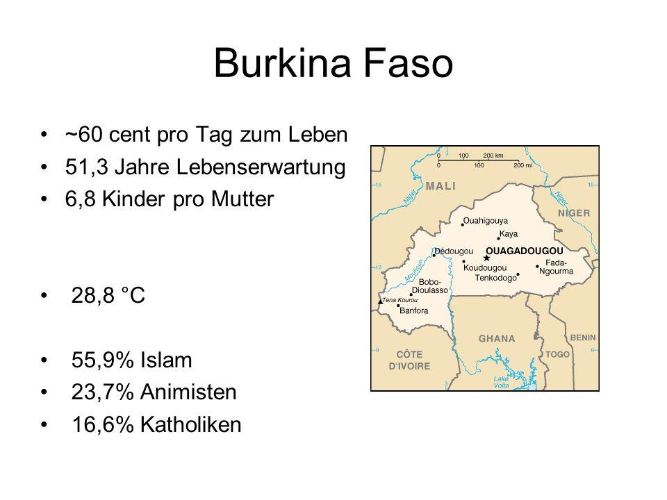 Burkina Faso ~60 cent pro Tag zum Leben 51,3 Jahre Lebenserwartung 6,8 Kinder pro Mutter 28,8 °C 55,9% Islam 23,7% Animisten 16,6% Katholiken