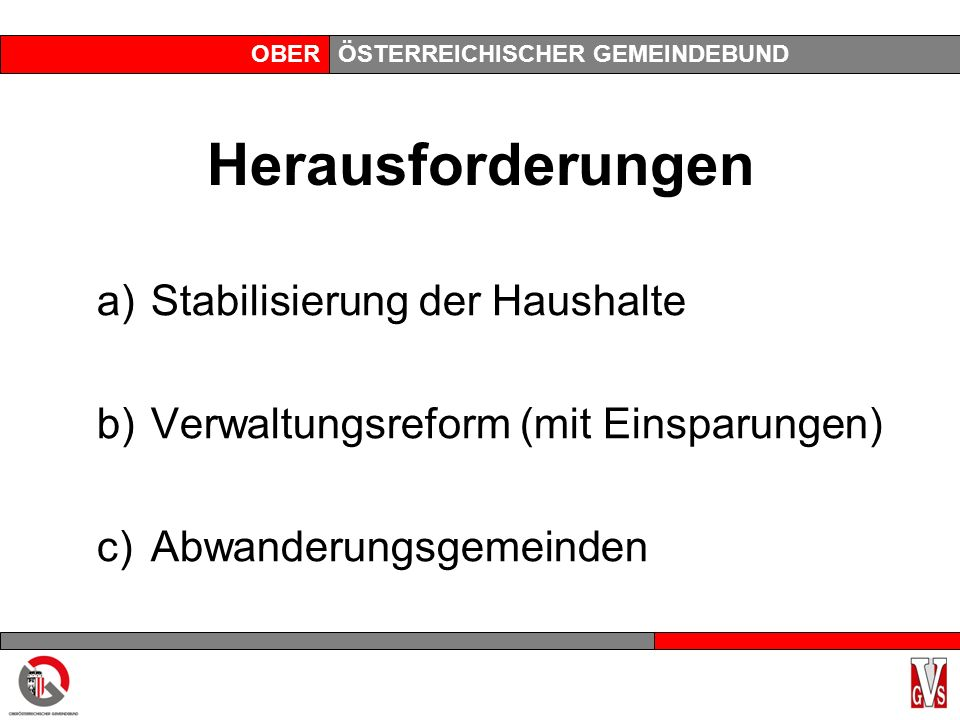 OBERÖSTERREICHISCHER GEMEINDEBUND Herausforderungen a)Stabilisierung der Haushalte b)Verwaltungsreform (mit Einsparungen) c)Abwanderungsgemeinden