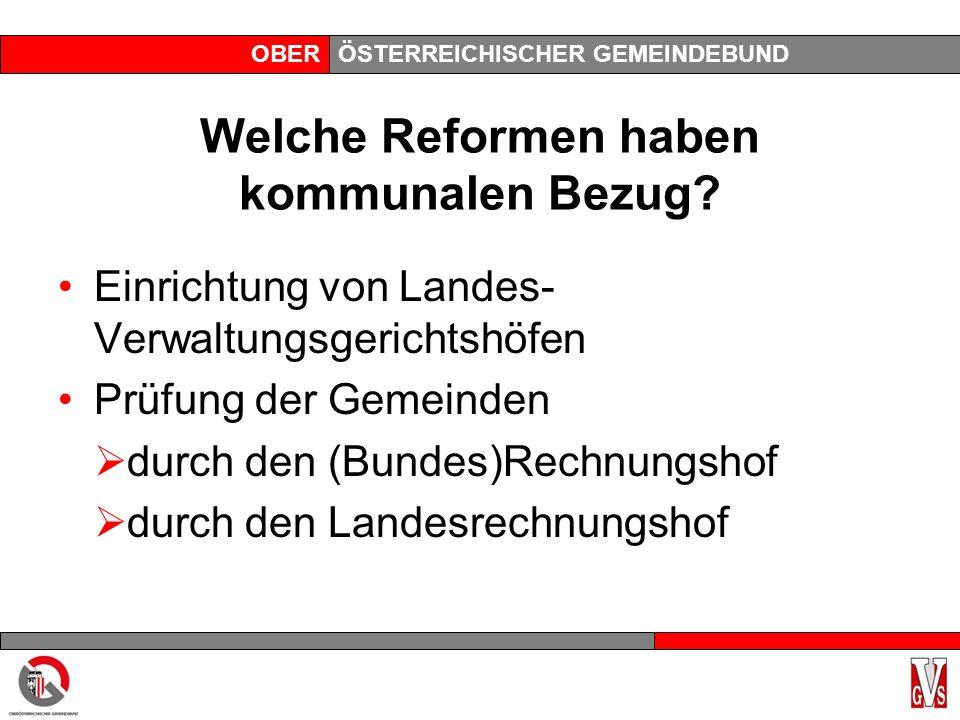OBERÖSTERREICHISCHER GEMEINDEBUND Welche Reformen haben kommunalen Bezug? Einrichtung von Landes- Verwaltungsgerichtshöfen Prüfung der Gemeinden durch