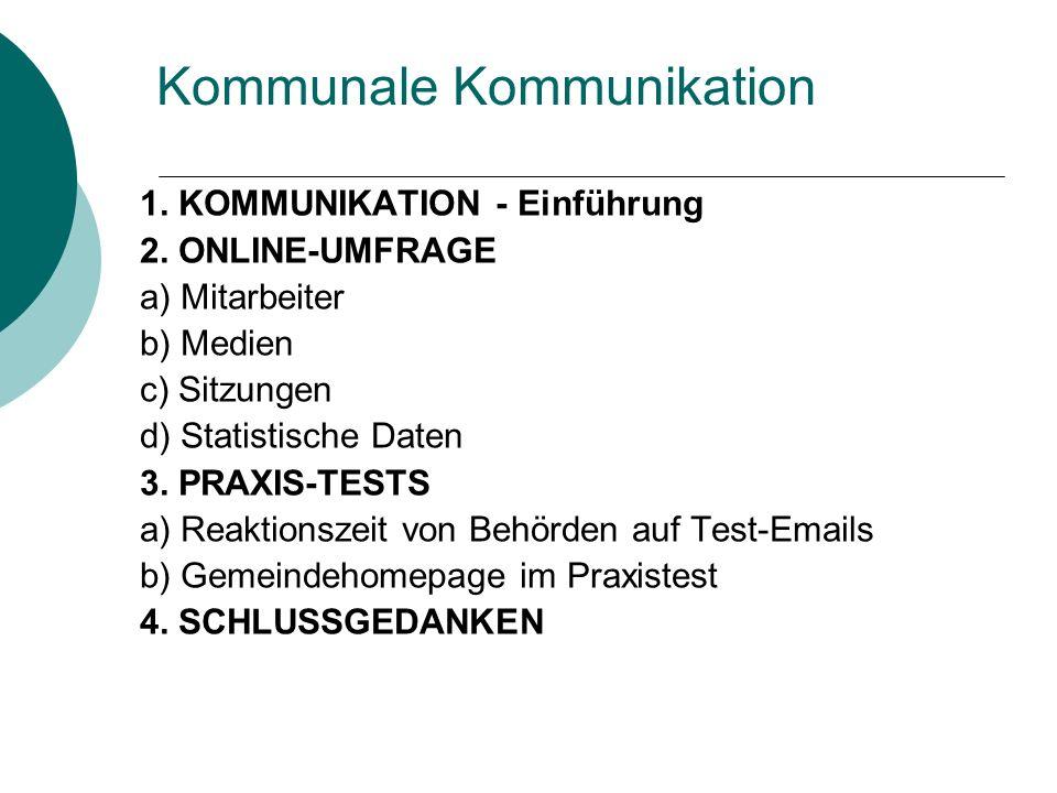 Kommunale Kommunikation 1. KOMMUNIKATION - Einführung 2. ONLINE-UMFRAGE a) Mitarbeiter b) Medien c) Sitzungen d) Statistische Daten 3. PRAXIS-TESTS a)