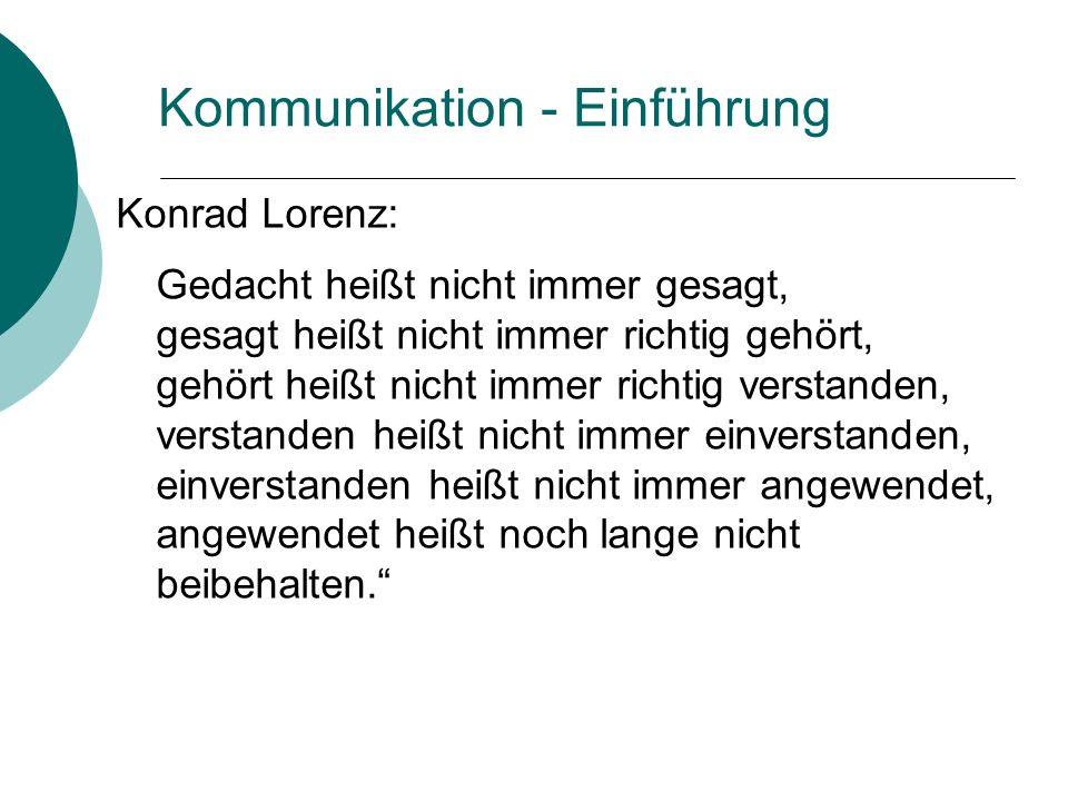 Kommunikation - Einführung Konrad Lorenz: Gedacht heißt nicht immer gesagt, gesagt heißt nicht immer richtig gehört, gehört heißt nicht immer richtig verstanden, verstanden heißt nicht immer einverstanden, einverstanden heißt nicht immer angewendet, angewendet heißt noch lange nicht beibehalten.
