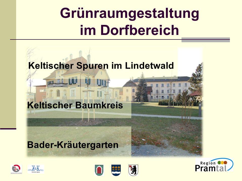 Grünraumgestaltung im Dorfbereich Keltischer Spuren im Lindetwald Keltischer Baumkreis Bader-Kräutergarten