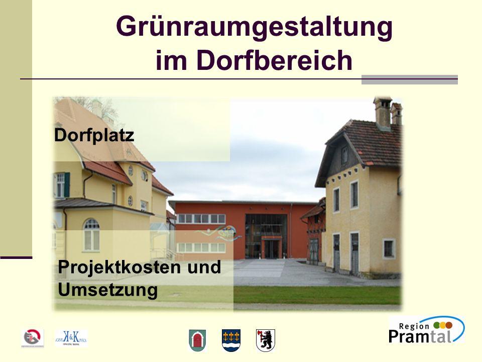 Grünraumgestaltung im Dorfbereich Dorfplatz Projektkosten und Umsetzung