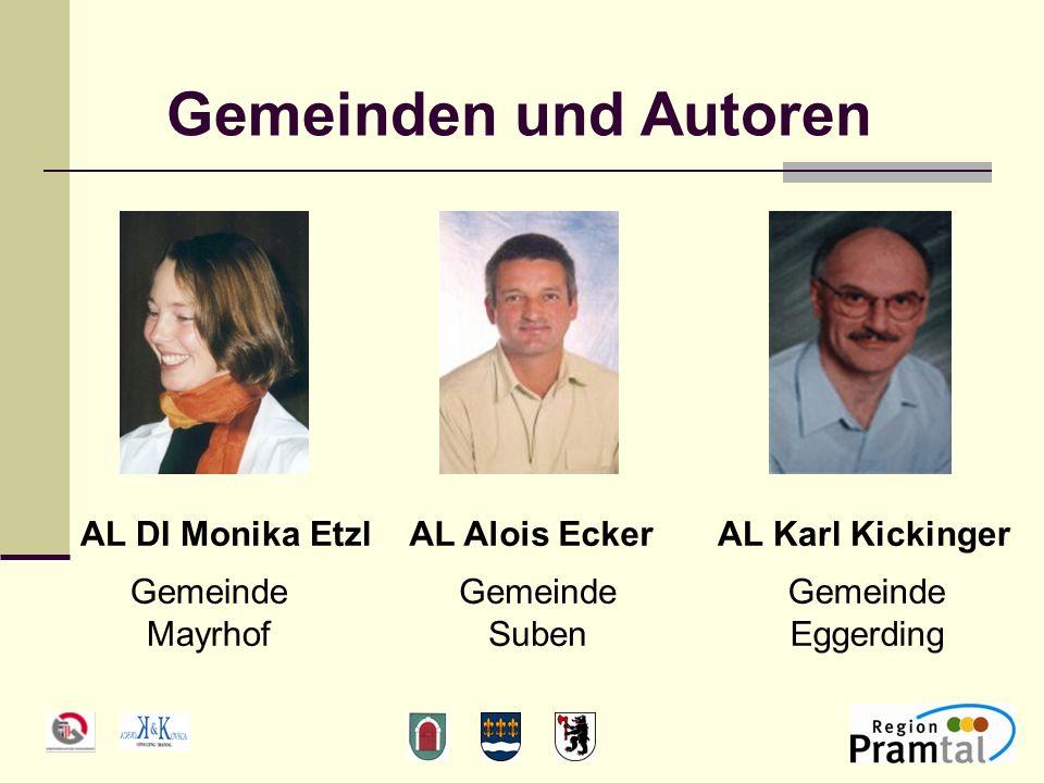 Gemeinden und Autoren Gemeinde Mayrhof AL Alois EckerAL Karl KickingerAL DI Monika Etzl Gemeinde Eggerding Gemeinde Suben