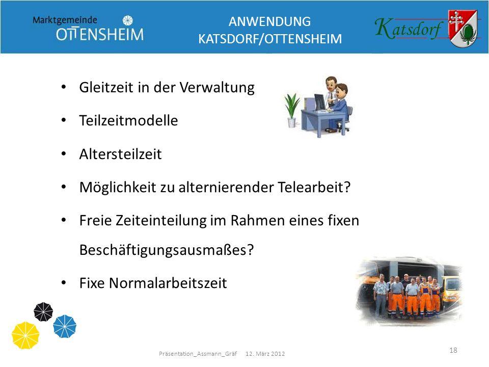 Präsentation_Assmann_Gräf 12. März 2012 18 Gleitzeit in der Verwaltung Teilzeitmodelle Altersteilzeit Möglichkeit zu alternierender Telearbeit? Freie