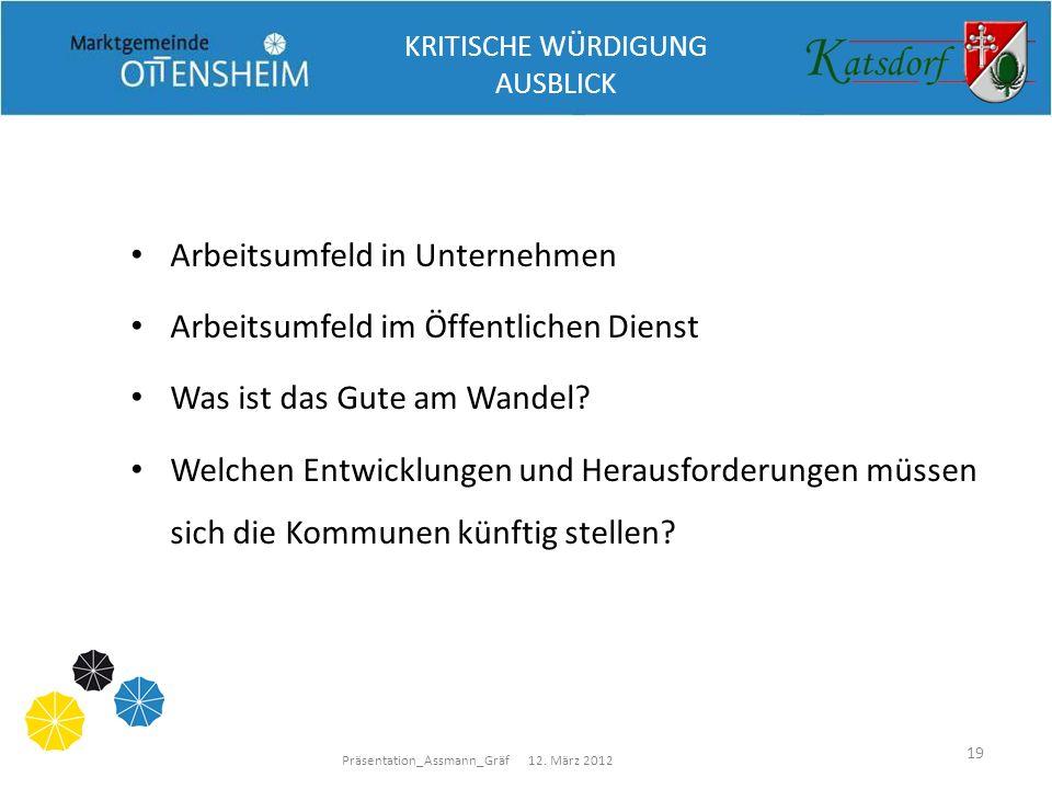 Präsentation_Assmann_Gräf 12. März 2012 19 Arbeitsumfeld in Unternehmen Arbeitsumfeld im Öffentlichen Dienst Was ist das Gute am Wandel? Welchen Entwi