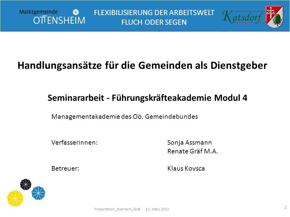 Präsentation_Assmann_Gräf 12. März 2012 2 Handlungsansätze für die Gemeinden als Dienstgeber Seminararbeit - Führungskräfteakademie Modul 4 Management