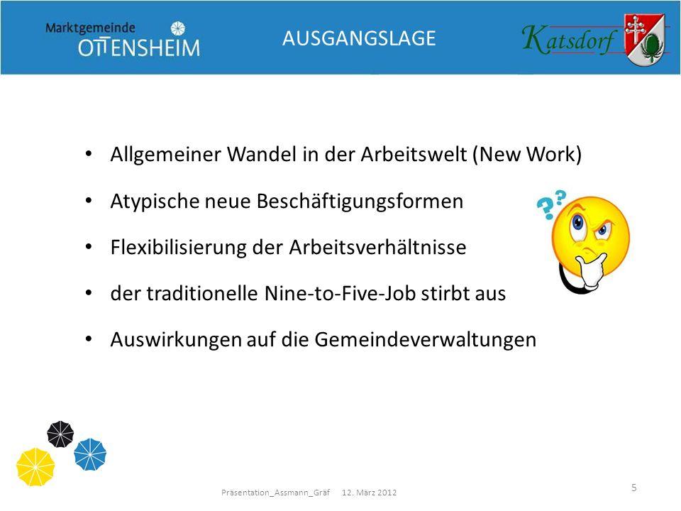 Präsentation_Assmann_Gräf 12. März 2012 5 AUSGANGSLAGE Allgemeiner Wandel in der Arbeitswelt (New Work) Atypische neue Beschäftigungsformen Flexibilis