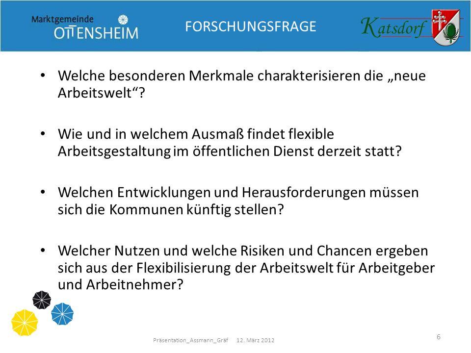 Präsentation_Assmann_Gräf 12. März 2012 6 FORSCHUNGSFRAGE Welche besonderen Merkmale charakterisieren die neue Arbeitswelt? Wie und in welchem Ausmaß