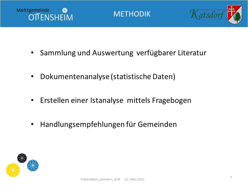 Präsentation_Assmann_Gräf 12. März 2012 7 METHODIK Sammlung und Auswertung verfügbarer Literatur Dokumentenanalyse (statistische Daten) Erstellen eine