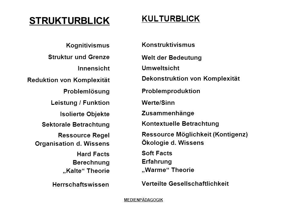 MEDIENPÄDAGOGIK KULTURBLICK Konstruktivismus Welt der Bedeutung Umweltsicht Dekonstruktion von Komplexität Problemproduktion Werte/Sinn Zusammenhänge