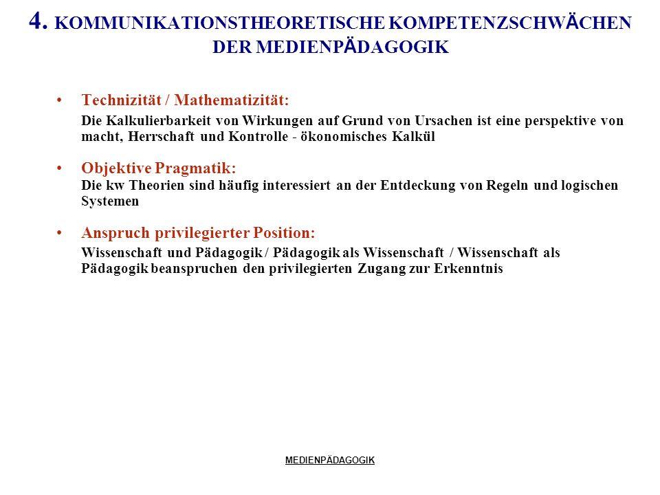MEDIENPÄDAGOGIK 4. KOMMUNIKATIONSTHEORETISCHE KOMPETENZSCHW Ä CHEN DER MEDIENP Ä DAGOGIK Technizität / Mathematizität: Die Kalkulierbarkeit von Wirkun