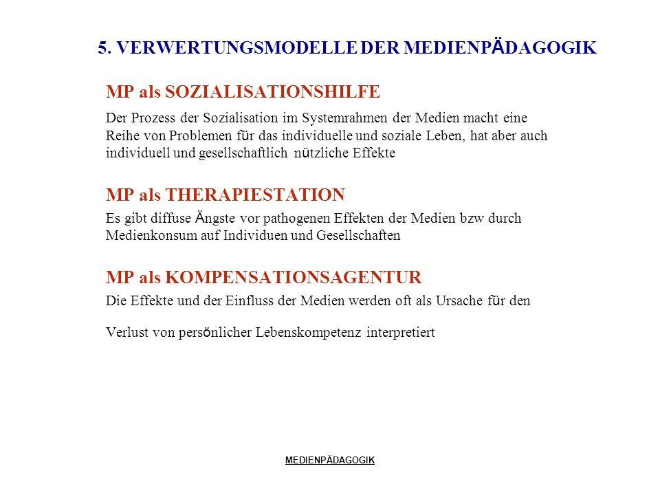 MEDIENPÄDAGOGIK 5. VERWERTUNGSMODELLE DER MEDIENP Ä DAGOGIK MP als SOZIALISATIONSHILFE Der Prozess der Sozialisation im Systemrahmen der Medien macht