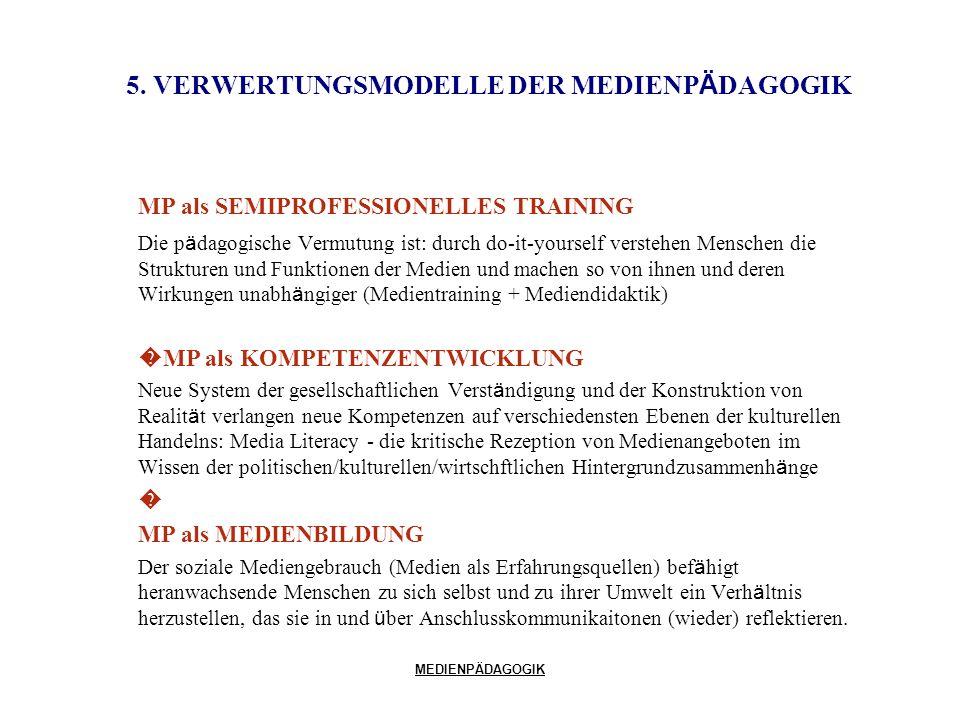 MEDIENPÄDAGOGIK 5. VERWERTUNGSMODELLE DER MEDIENP Ä DAGOGIK MP als SEMIPROFESSIONELLES TRAINING Die p ä dagogische Vermutung ist: durch do-it-yourself