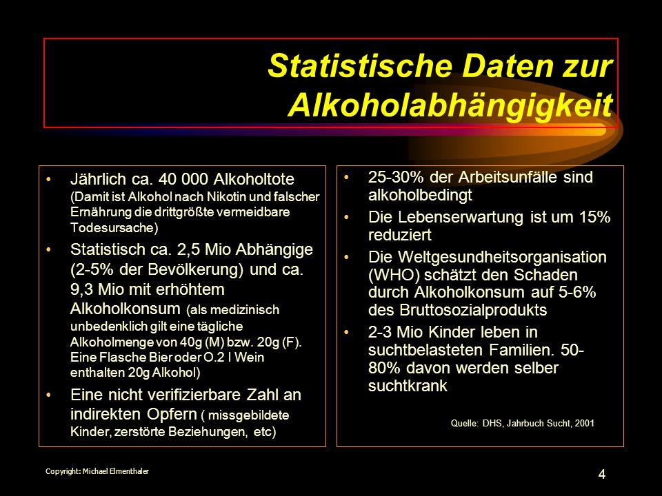 4 Statistische Daten zur Alkoholabhängigkeit Jährlich ca. 40 000 Alkoholtote (Damit ist Alkohol nach Nikotin und falscher Ernährung die drittgrößte ve