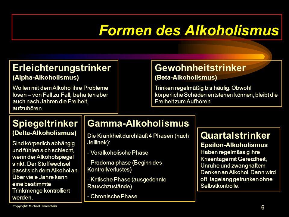 6 Formen des Alkoholismus Erleichterungstrinker (Alpha-Alkoholismus) Wollen mit dem Alkohol ihre Probleme lösen – von Fall zu Fall, behalten aber auch