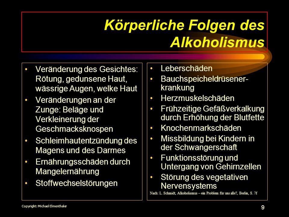 10 Soziale Folgen des Alkoholismus Alle sozialen Beziehungen werden gestört (Partnerschaft, Familie, Beruf, Nachbarschaft, Strassenverkehr, gesellschaftliches Verhalten ) Bereitschaft zu Straftaten nimmt zu (bei ca.