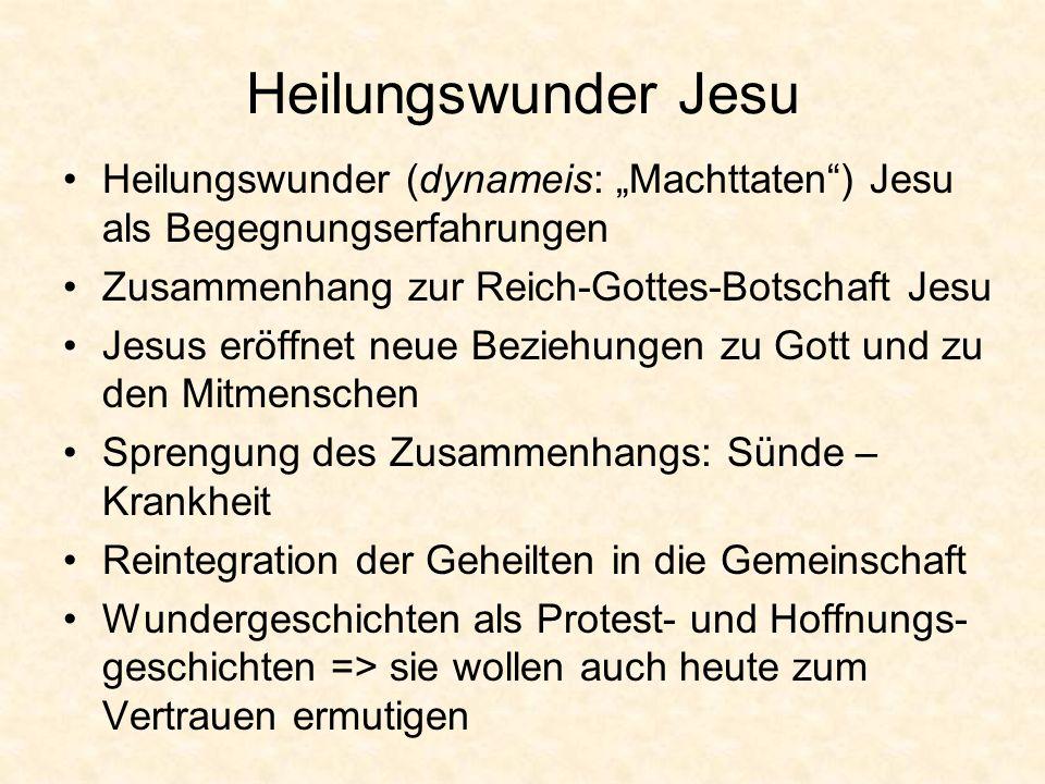 Heilungswunder Jesu Heilungswunder (dynameis: Machttaten) Jesu als Begegnungserfahrungen Zusammenhang zur Reich-Gottes-Botschaft Jesu Jesus eröffnet n