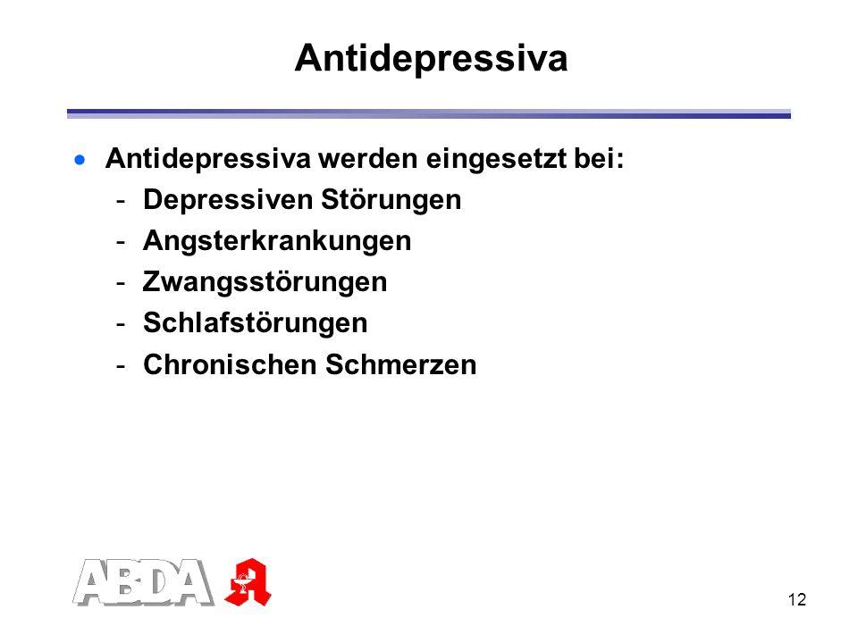 12 Antidepressiva Antidepressiva werden eingesetzt bei: -Depressiven Störungen -Angsterkrankungen -Zwangsstörungen -Schlafstörungen -Chronischen Schme