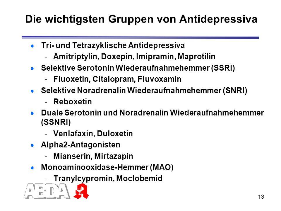 13 Die wichtigsten Gruppen von Antidepressiva Tri- und Tetrazyklische Antidepressiva -Amitriptylin, Doxepin, Imipramin, Maprotilin Selektive Serotonin