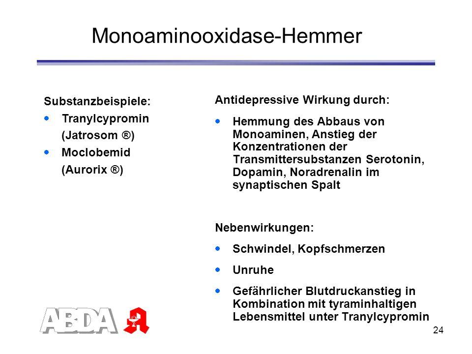24 Monoaminooxidase-Hemmer Antidepressive Wirkung durch: Hemmung des Abbaus von Monoaminen, Anstieg der Konzentrationen der Transmittersubstanzen Sero