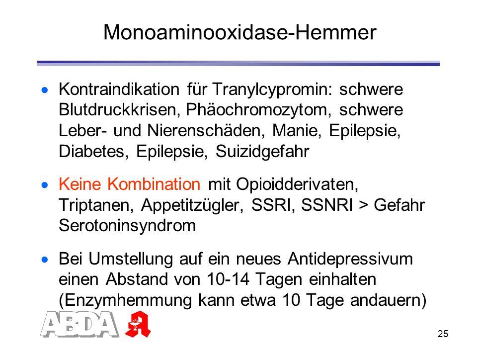25 Monoaminooxidase-Hemmer Kontraindikation für Tranylcypromin: schwere Blutdruckkrisen, Phäochromozytom, schwere Leber- und Nierenschäden, Manie, Epi