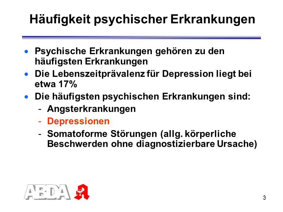 3 Häufigkeit psychischer Erkrankungen Psychische Erkrankungen gehören zu den häufigsten Erkrankungen Die Lebenszeitprävalenz für Depression liegt bei