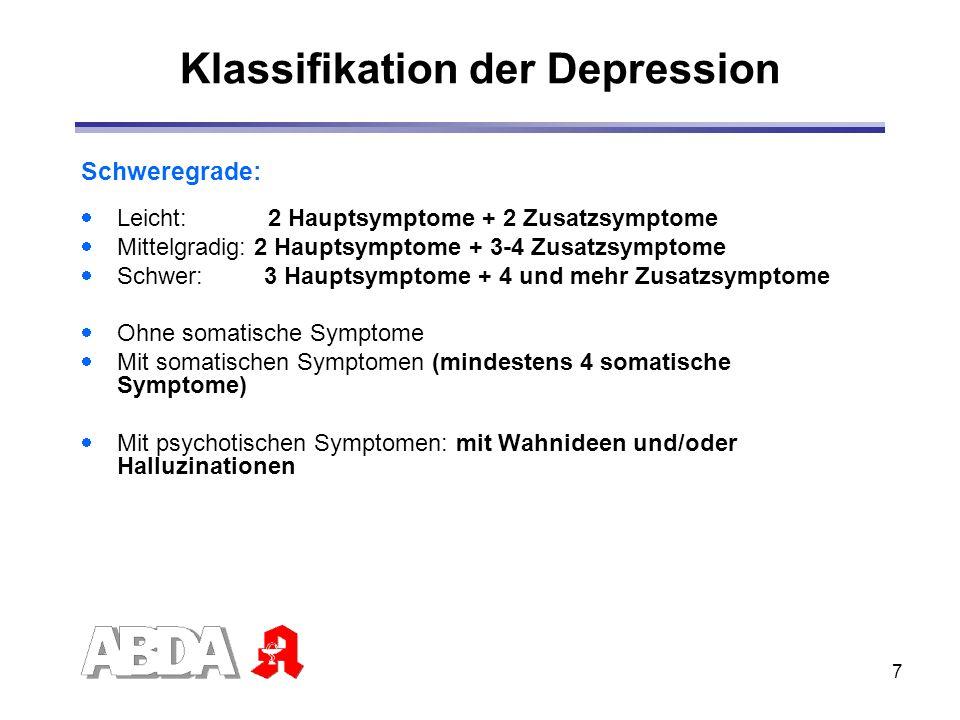 7 Schweregrade: Leicht: 2 Hauptsymptome + 2 Zusatzsymptome Mittelgradig: 2 Hauptsymptome + 3-4 Zusatzsymptome Schwer: 3 Hauptsymptome + 4 und mehr Zus
