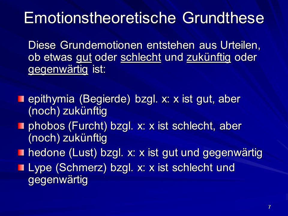 7 Emotionstheoretische Grundthese Diese Grundemotionen entstehen aus Urteilen, ob etwas gut oder schlecht und zukünftig oder gegenwärtig ist: epithymi