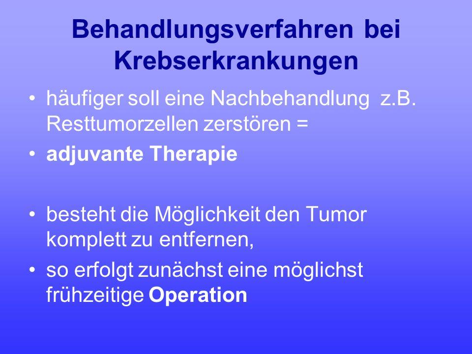 Behandlungsverfahren bei Krebserkrankungen häufiger soll eine Nachbehandlung z.B. Resttumorzellen zerstören = adjuvante Therapie besteht die Möglichke
