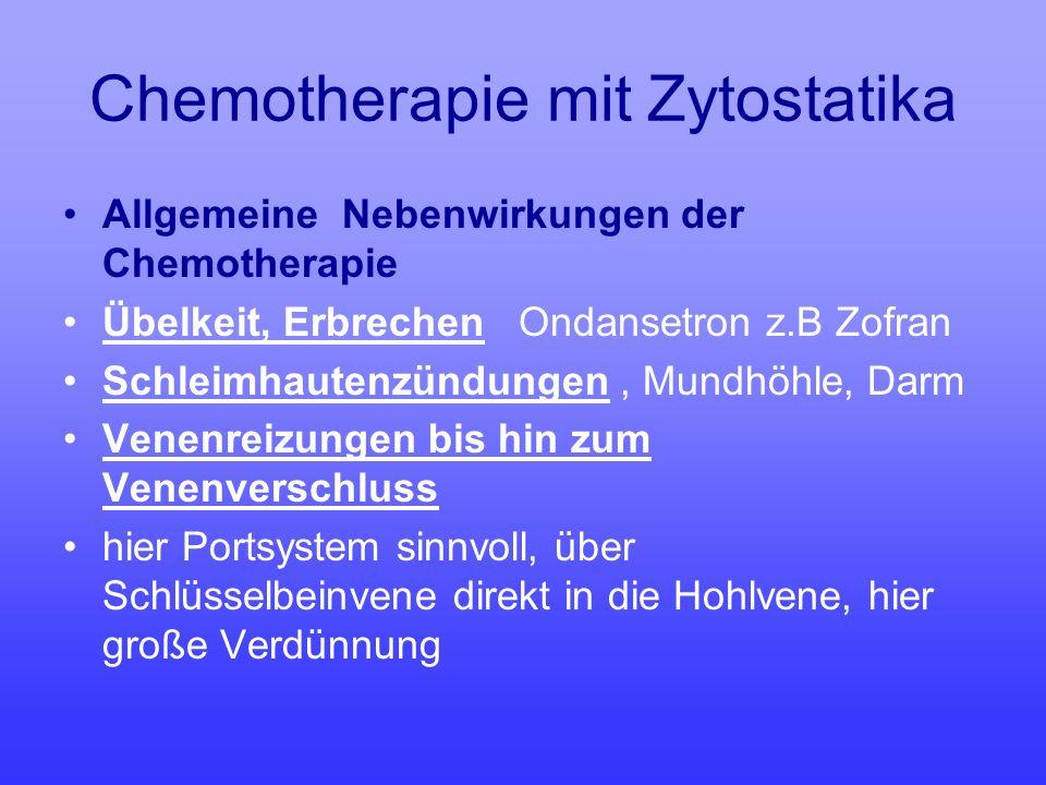 Chemotherapie mit Zytostatika Allgemeine Nebenwirkungen der Chemotherapie Übelkeit, Erbrechen Ondansetron z.B Zofran Schleimhautenzündungen, Mundhöhle