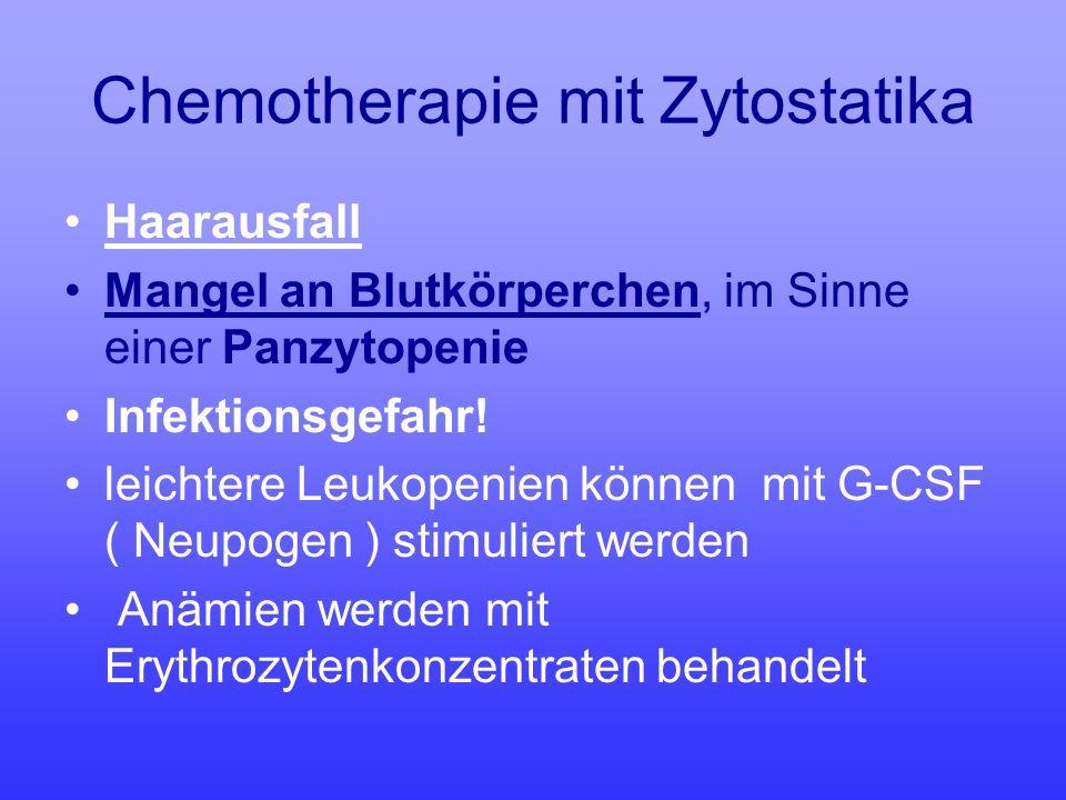 Chemotherapie mit Zytostatika Haarausfall Mangel an Blutkörperchen, im Sinne einer Panzytopenie Infektionsgefahr! leichtere Leukopenien können mit G-C