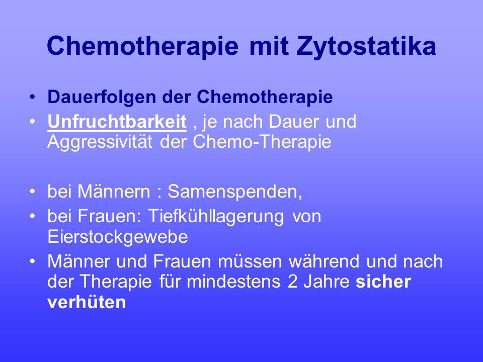 Chemotherapie mit Zytostatika Dauerfolgen der Chemotherapie Unfruchtbarkeit, je nach Dauer und Aggressivität der Chemo-Therapie bei Männern : Samenspe