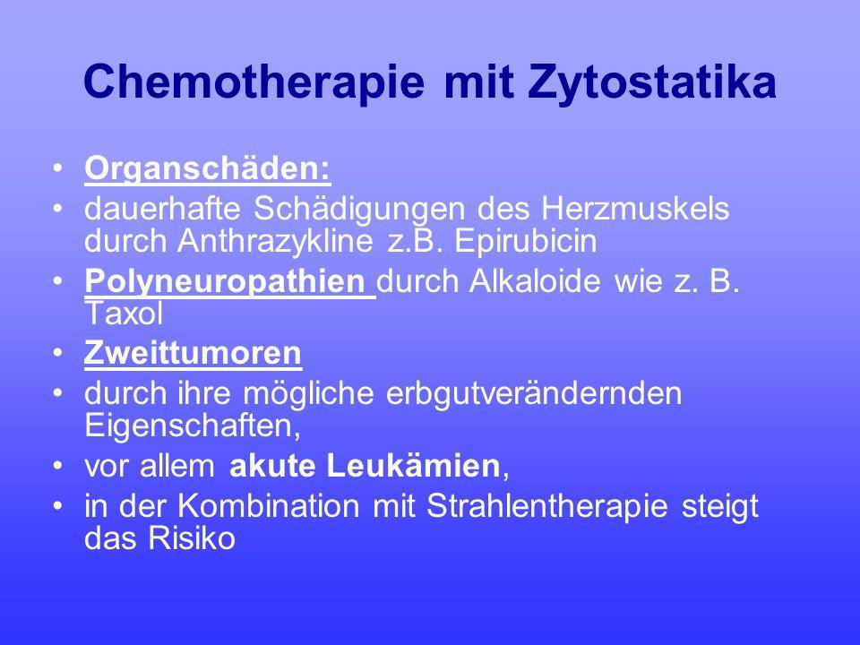 Chemotherapie mit Zytostatika Organschäden: dauerhafte Schädigungen des Herzmuskels durch Anthrazykline z.B. Epirubicin Polyneuropathien durch Alkaloi