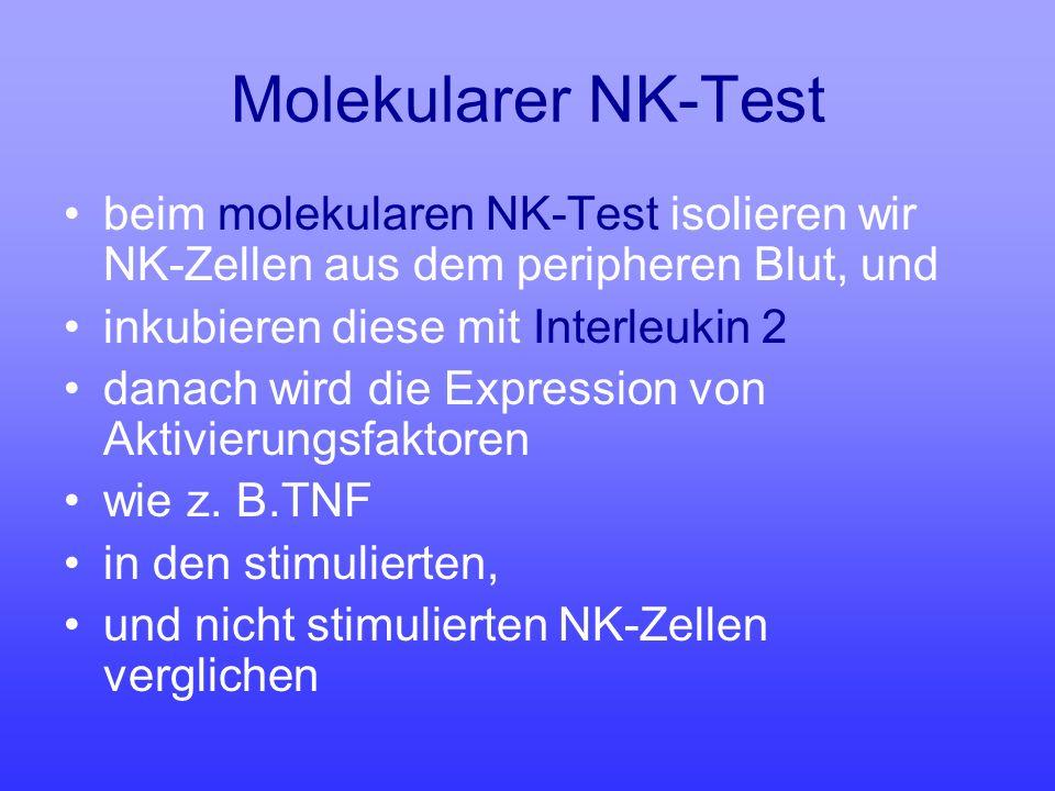 Molekularer NK-Test beim molekularen NK-Test isolieren wir NK-Zellen aus dem peripheren Blut, und inkubieren diese mit Interleukin 2 danach wird die E