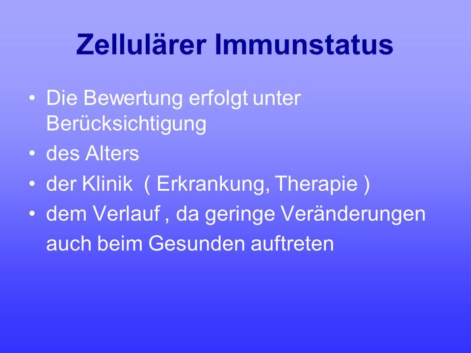 Zellulärer Immunstatus Die Bewertung erfolgt unter Berücksichtigung des Alters der Klinik ( Erkrankung, Therapie ) dem Verlauf, da geringe Veränderung