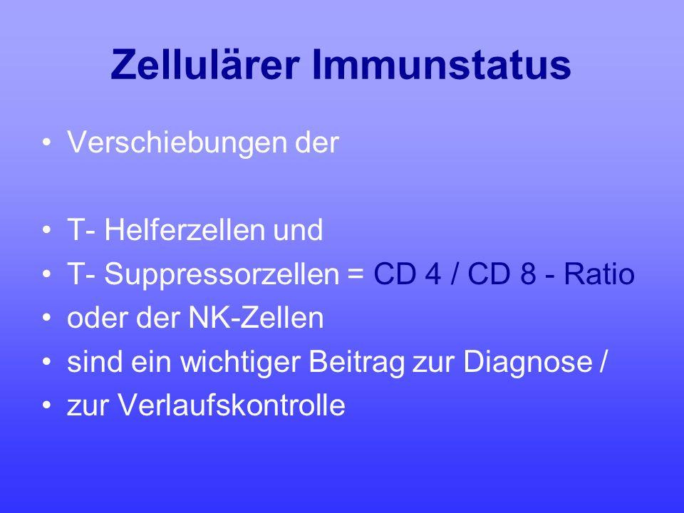 Zellulärer Immunstatus Verschiebungen der T- Helferzellen und T- Suppressorzellen = CD 4 / CD 8 - Ratio oder der NK-Zellen sind ein wichtiger Beitrag