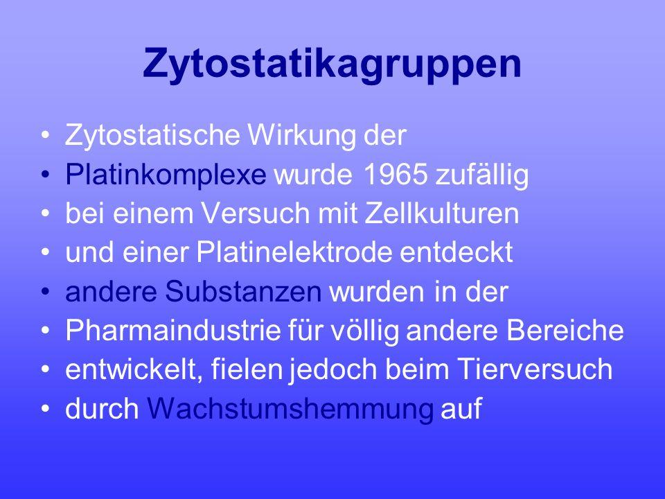 Zytostatikagruppen Zytostatische Wirkung der Platinkomplexe wurde 1965 zufällig bei einem Versuch mit Zellkulturen und einer Platinelektrode entdeckt