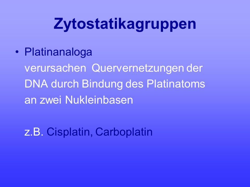 Zytostatikagruppen Platinanaloga verursachen Quervernetzungen der DNA durch Bindung des Platinatoms an zwei Nukleinbasen z.B. Cisplatin, Carboplatin
